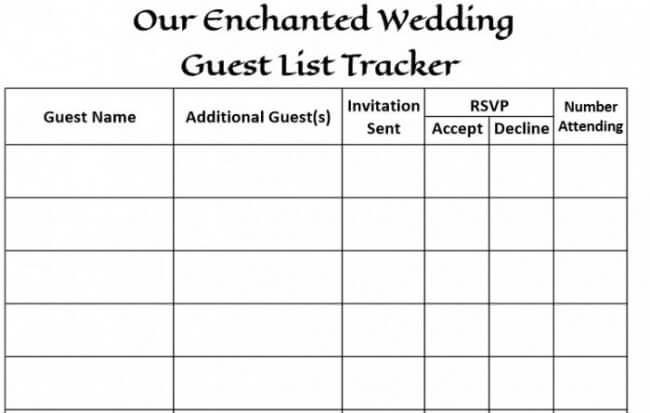 wedding guest invite list template