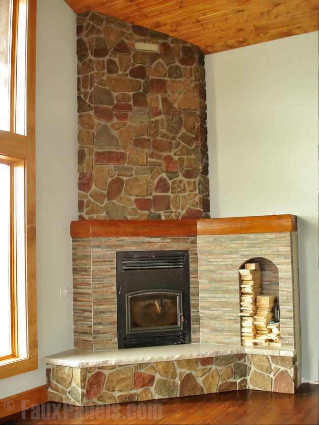 corner wood burning fireplace