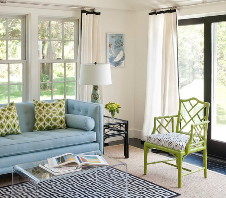 Lime green and blue living room