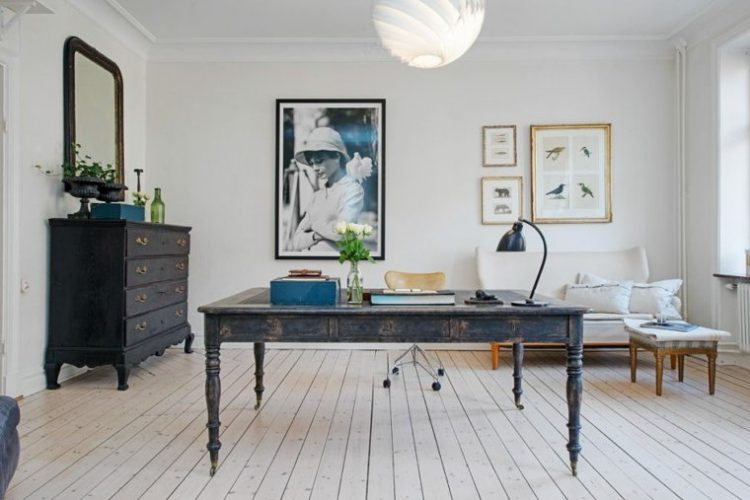 Feminine Workspaces Office with Antique Desk and Dresser Hardwood Floors Audrey Hepburn Wall Art