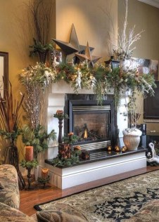 Inspiring Rustic Christmas Fireplace Ideas To Makes Your Home Warmer 88