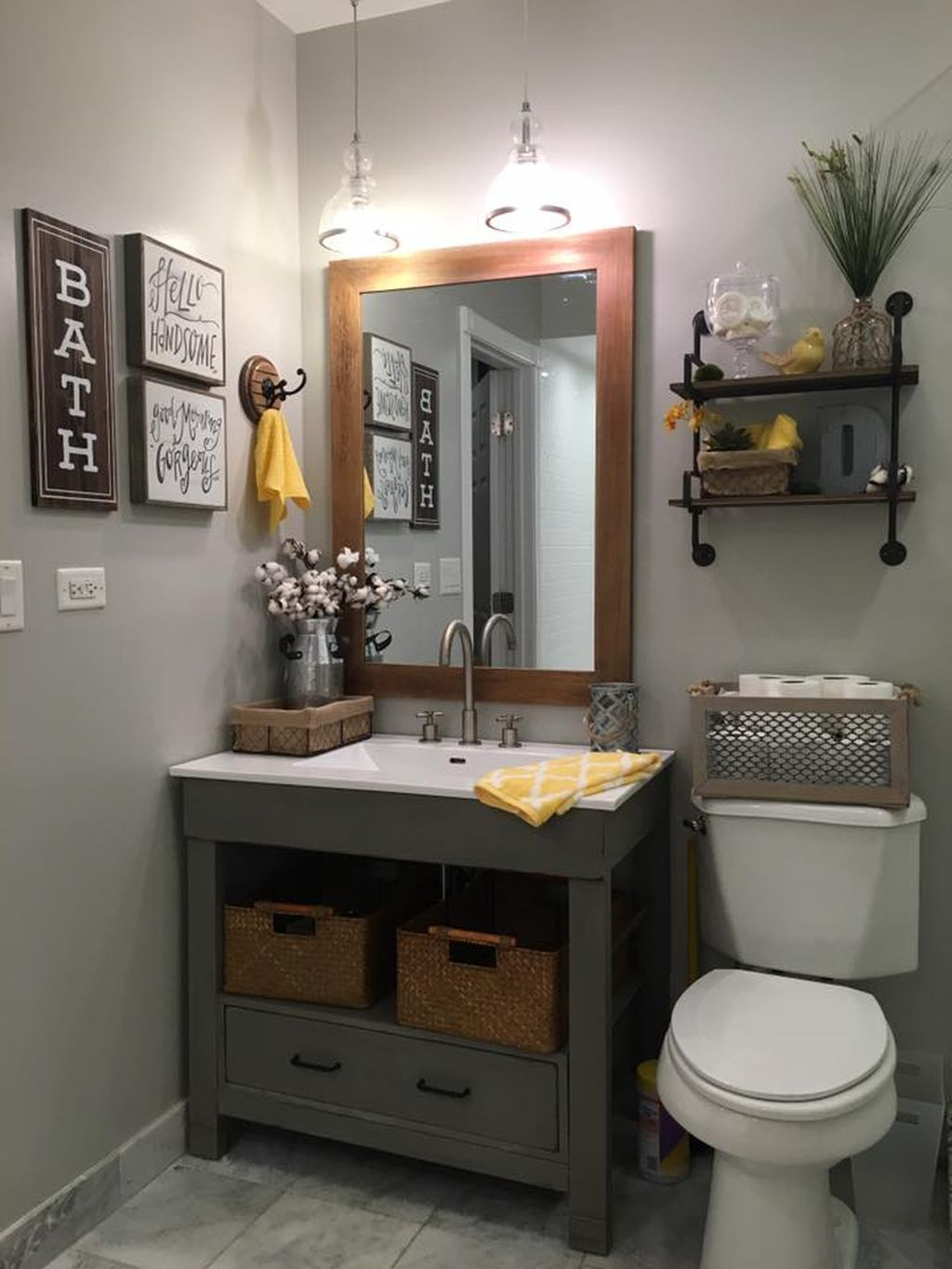 Inspiring Rustic Bathroom Vanity Remodel Ideas 53