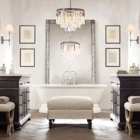 Romantic And Elegant Bathroom Design Ideas With Chandeliers 17