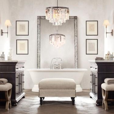 Romantic And Elegant Bathroom Design Ideas With Chandeliers 17
