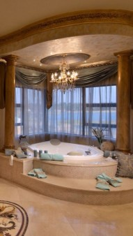 Romantic And Elegant Bathroom Design Ideas With Chandeliers 51