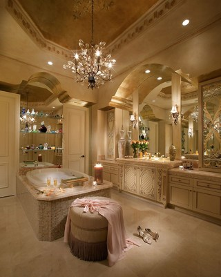 Romantic And Elegant Bathroom Design Ideas With Chandeliers 61