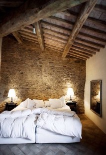 Elegant Rustic Bedroom Brick Wall Decoration Ideas 09