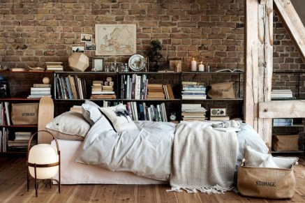 Elegant Rustic Bedroom Brick Wall Decoration Ideas 10