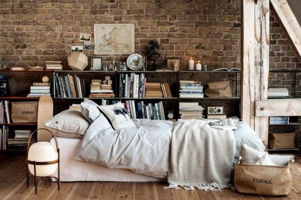 Elegant Rustic Bedroom Brick Wall Decoration Ideas 10