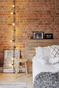 Elegant Rustic Bedroom Brick Wall Decoration Ideas 11