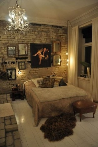Elegant Rustic Bedroom Brick Wall Decoration Ideas 17