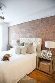 Elegant Rustic Bedroom Brick Wall Decoration Ideas 23