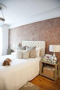 Elegant Rustic Bedroom Brick Wall Decoration Ideas 23