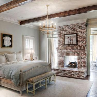 Elegant Rustic Bedroom Brick Wall Decoration Ideas 26