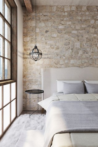 Elegant Rustic Bedroom Brick Wall Decoration Ideas 29