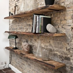 Elegant Rustic Bedroom Brick Wall Decoration Ideas 35