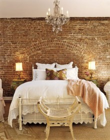 Elegant Rustic Bedroom Brick Wall Decoration Ideas 43