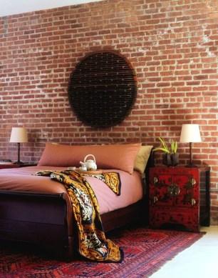 Elegant Rustic Bedroom Brick Wall Decoration Ideas 45