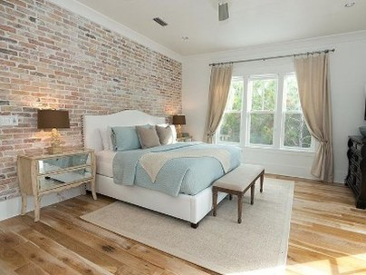 Elegant Rustic Bedroom Brick Wall Decoration Ideas 46