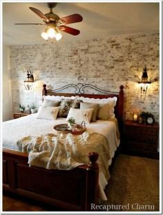 Elegant Rustic Bedroom Brick Wall Decoration Ideas 48