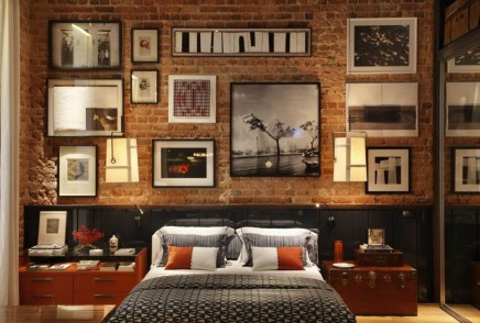 Elegant Rustic Bedroom Brick Wall Decoration Ideas 54