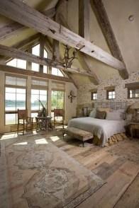 Elegant Rustic Bedroom Brick Wall Decoration Ideas 55