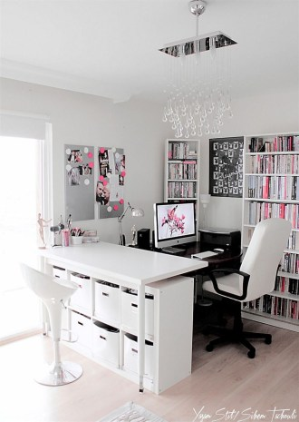 Elegant And Exquisite Feminine Home Office Design Ideas 27