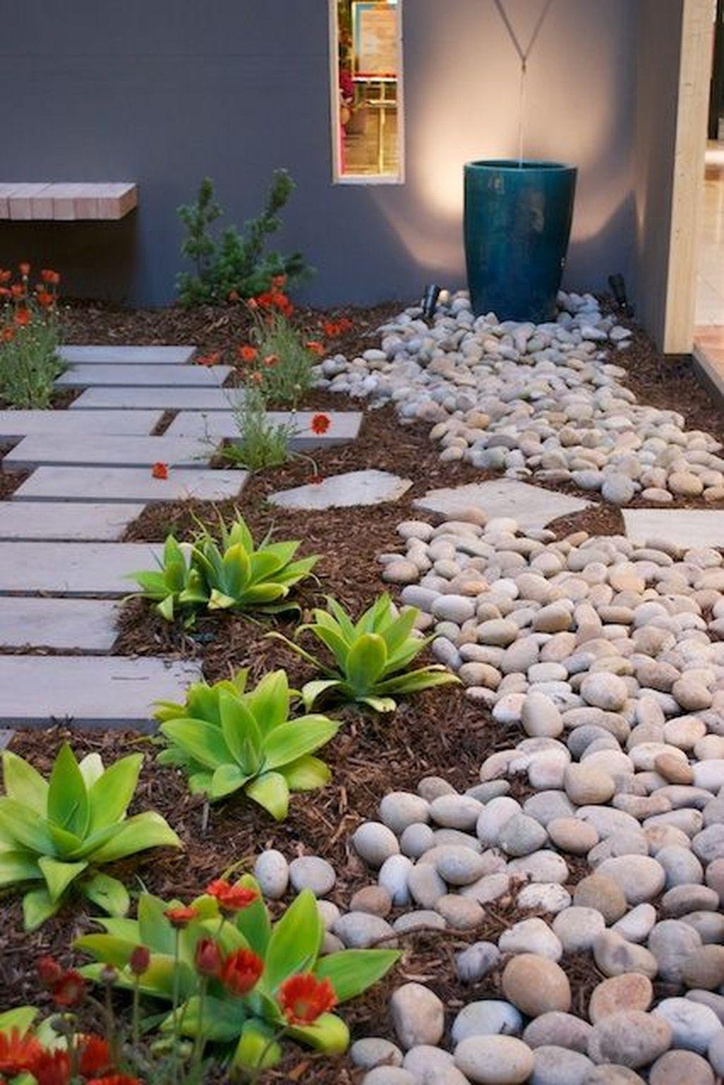Beautiful Front Yard Rock Garden Design Ideas 04