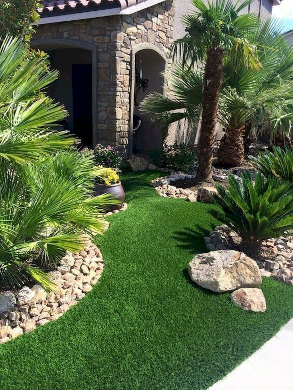 Stunning Front Yard Walkway Landscaping Design Ideas 14