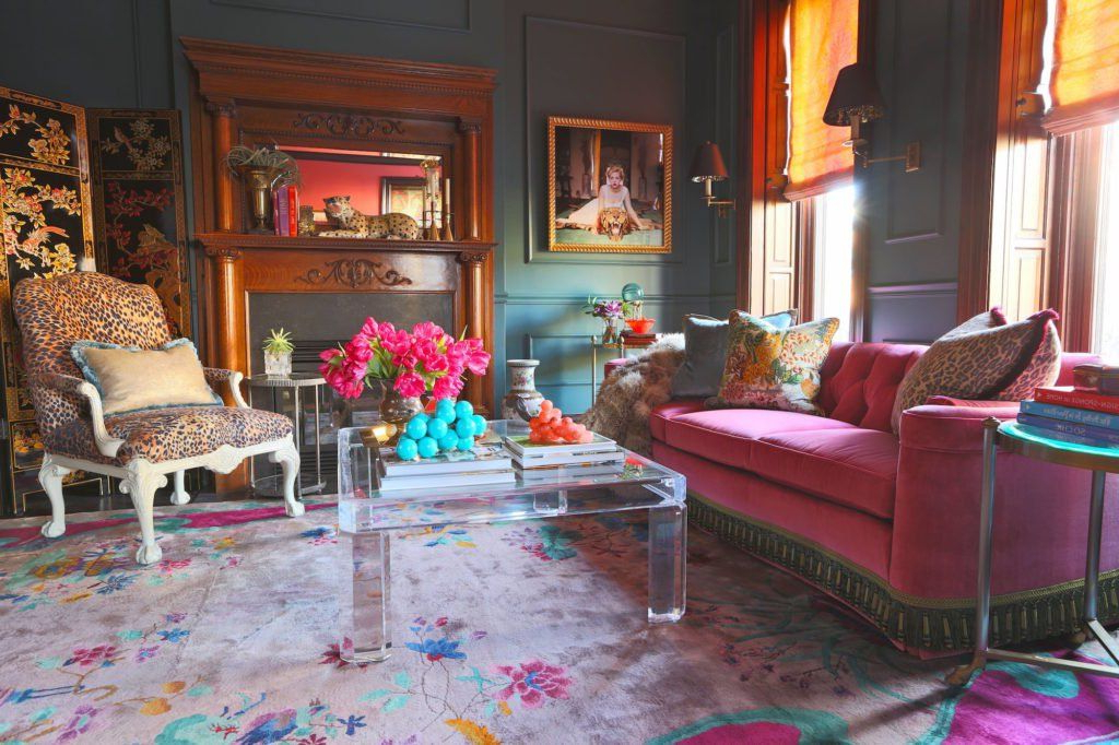 17 Fabulously Maximalist Rooms Pink Sofa Living Room