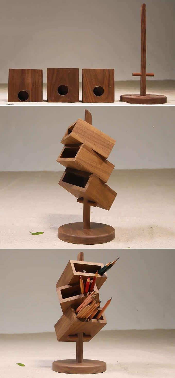 3 Tier Wooden Office Desk Organizer Com Imagens