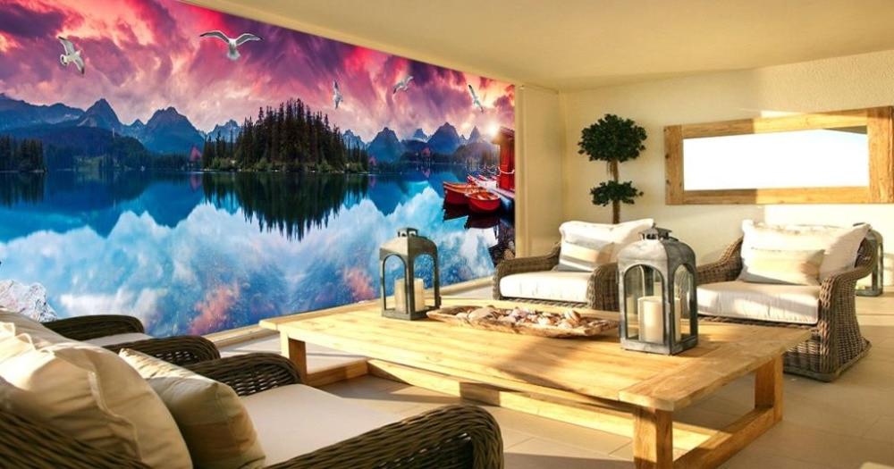 3d Modern Design Brick Wall Wallpaper Beauty Beach House