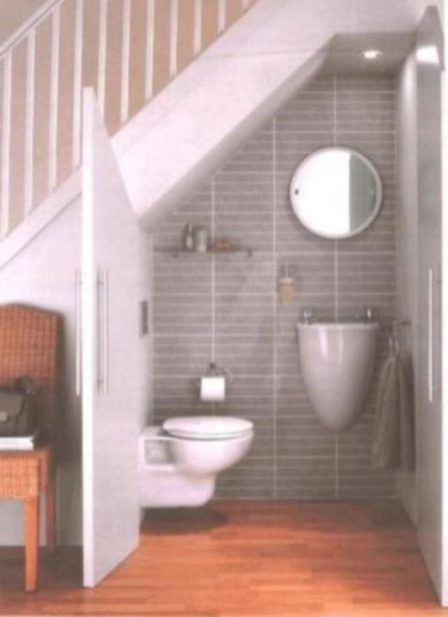 40 Unique Small Bathroom Understairs Designs Ideas