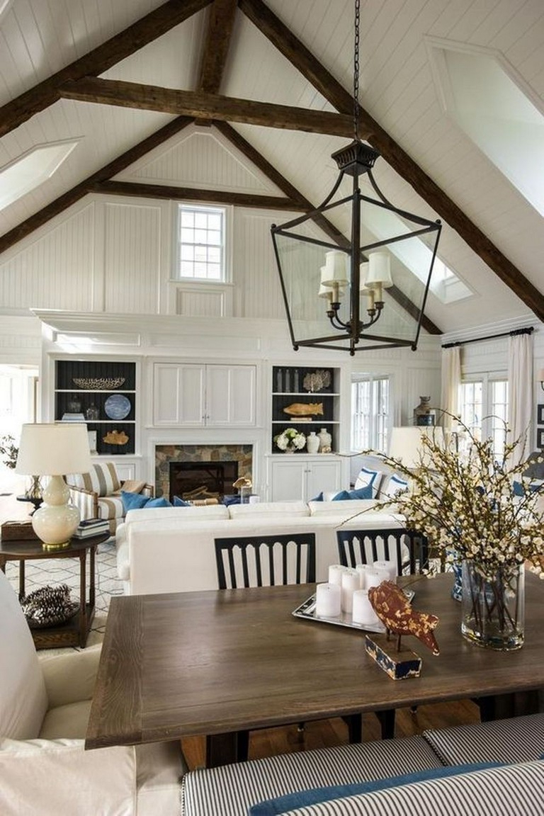45 Amazing White Wood Beams Ceiling Ideas For Cottage