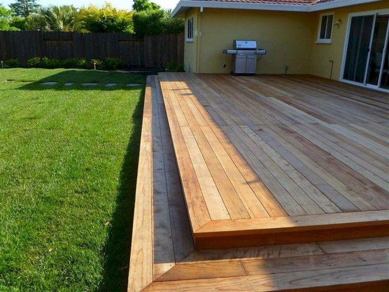 55 Beautiful Wooden Deck Design Ideas Large Backyard