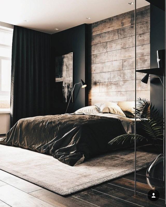 A Dark Cozy Moody Masculine Bedroom Wood Black Walls