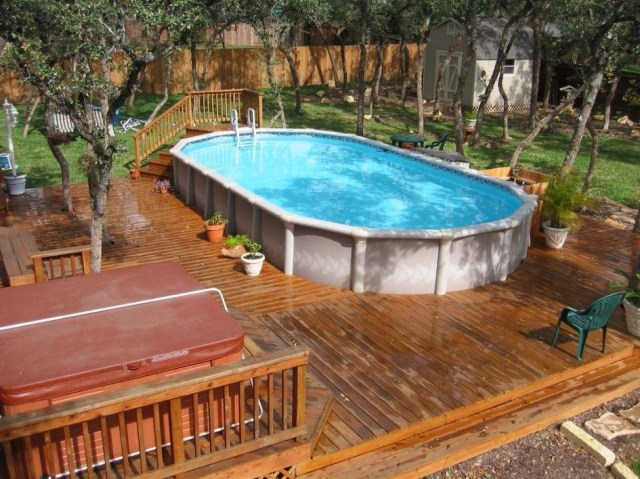 Above Ground Pool With Deck And Hot Tub For Backyard Above