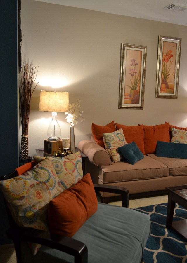Accent Wall Rugs Coffee Table Pillows Teal Orange