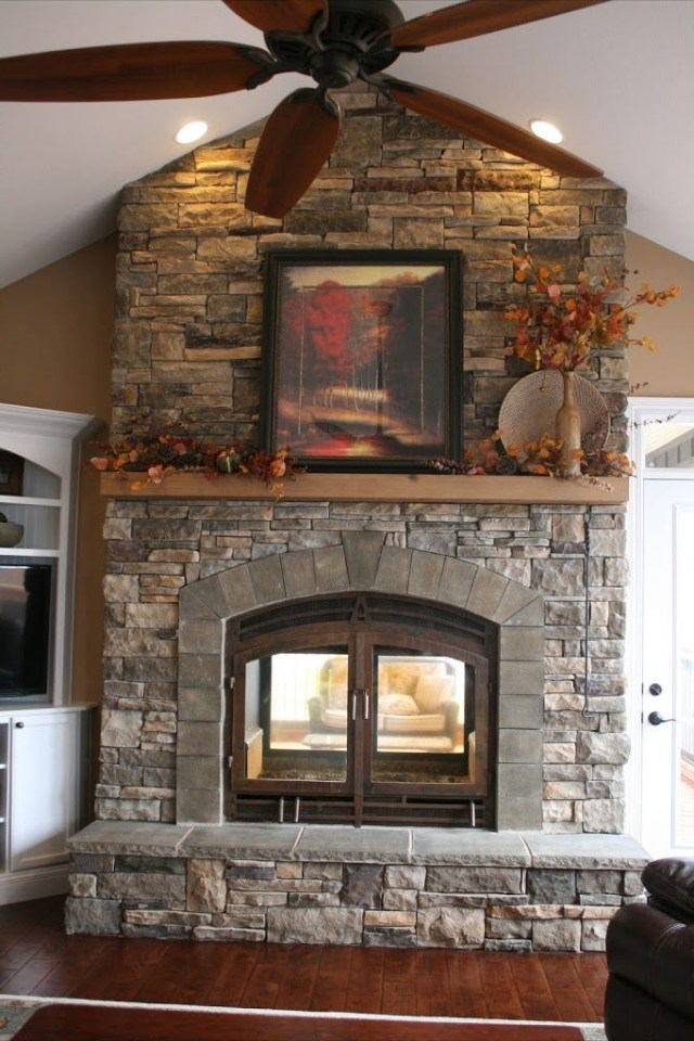 Acucrafts Custom See Through Wood Fireplace Is The Focal
