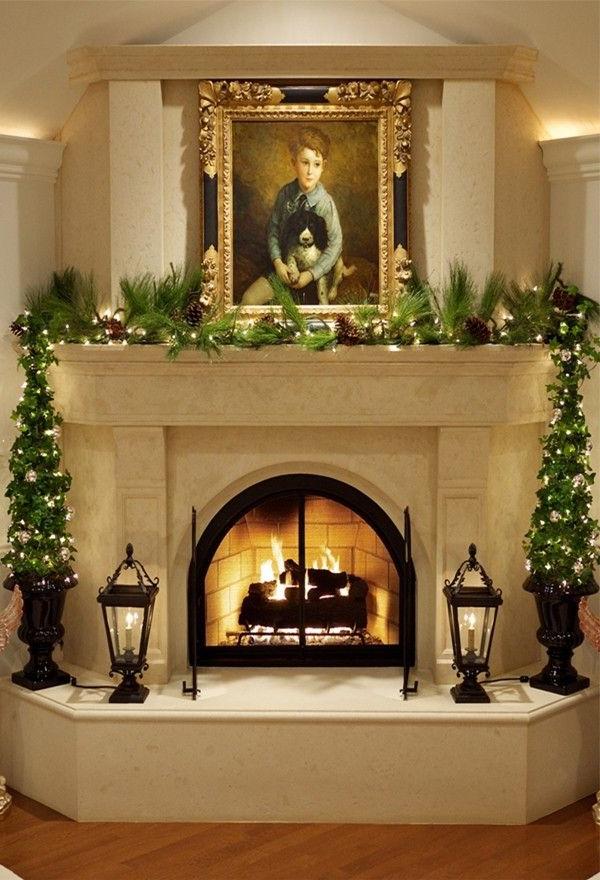 Amazing Natural Christmas Fireplace Decoration Ideas