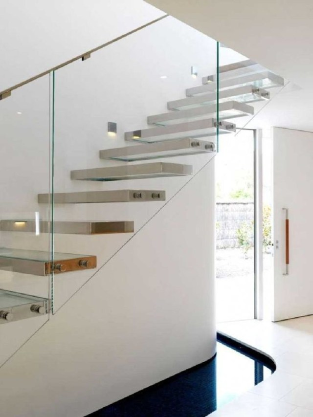 Amazing Sleek Modern Glass Railing Stair Design Ideas 4