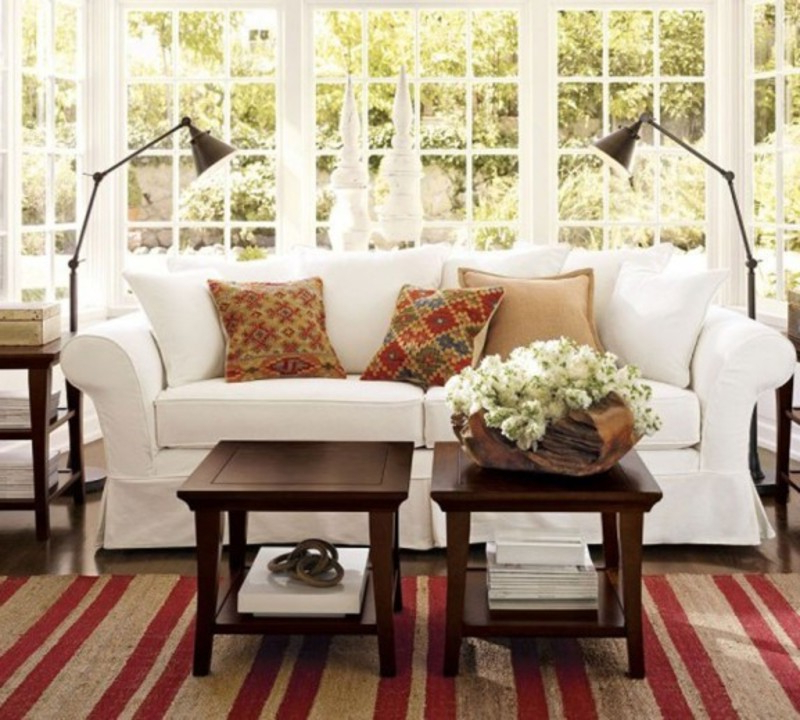 Antique Living Room Decorating With Vintage Modern Sofa