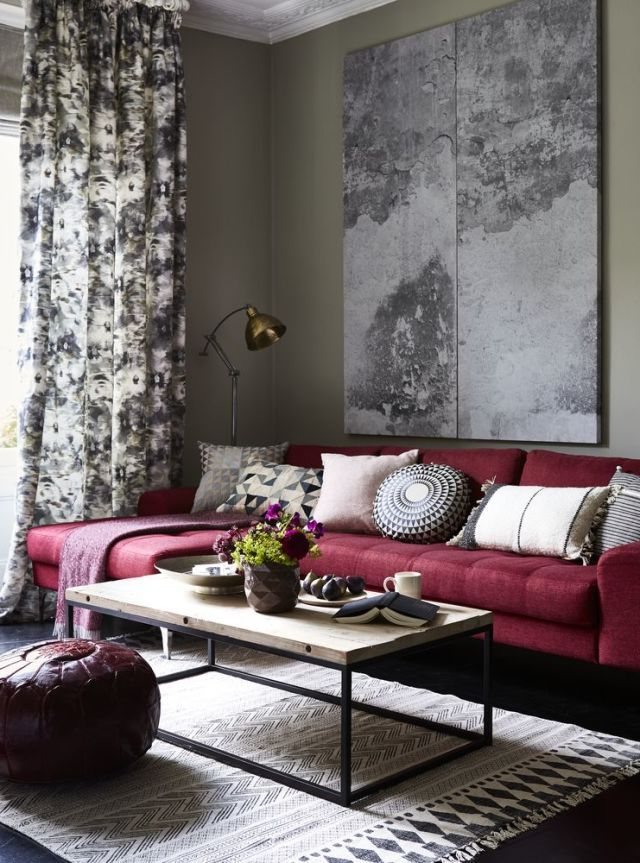 Autumnwinter Style Inspiration Berry Shades Red Couch