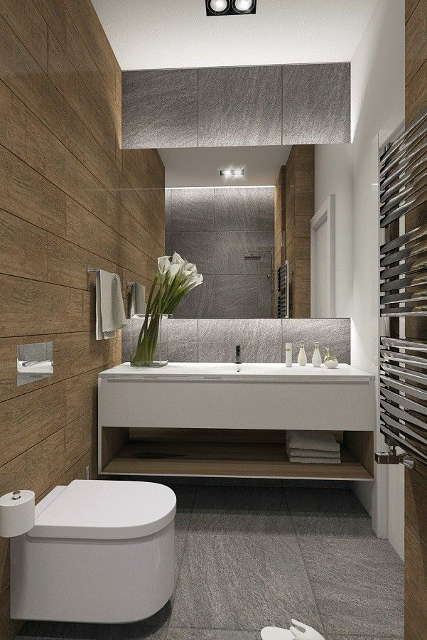 Beautiful Bathroom Remodel With Floating Vanity And Wall