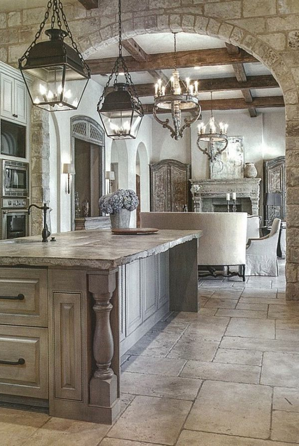 Beautiful Kitchenthe Stone Floor Tiles Washed Cabinetry Kitchen Lights Nice Old World