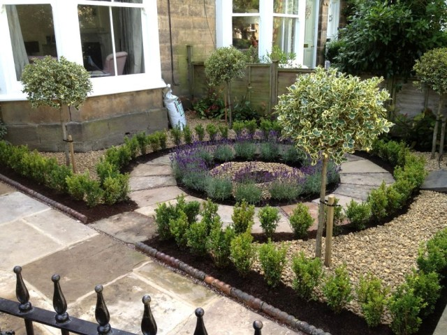 Beautiful No Grass Formal Front Yard Garden Design With
