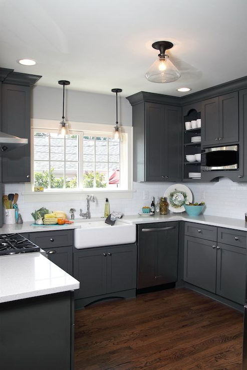 Beautiful U Shaped Kitchen With Dark Gray Shaker Cabinetry