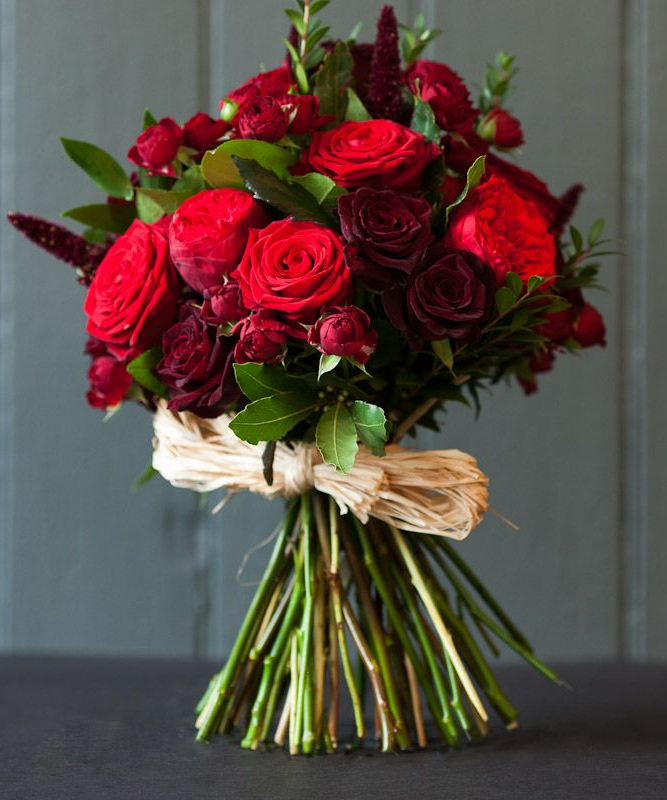 Bouquet Of Red Roses Dark Baccara Roses Tied With Raffia