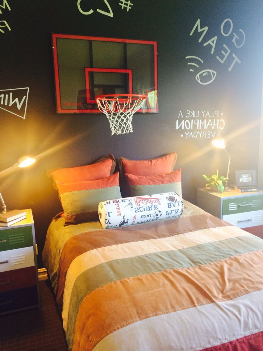 Boys Basketball Bedroom With Chalkboard Wall Baseball