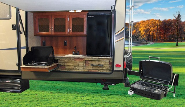 Camping Trailer Bumper Mounted Propane Grill Decor Its